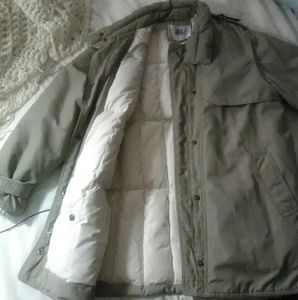 NEW Goose Down fill Gray/Khaki Trench Artic Parka